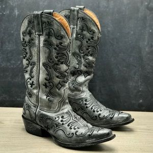 Shyanne Cowboy Distressed Grey Leather Boots